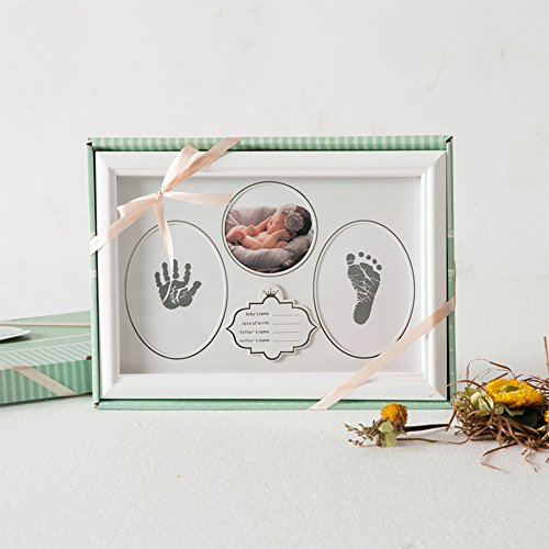 Baby Handprint Kit & Footprint Photo Frame for Newborn Girls and Boys, Handprint and Footprint Ink Pads, Exquisite Gift Box Decorations for Room Wall, Best Birthday Or Christmas Gift for Baby (White) by ONMIER (Image #4)