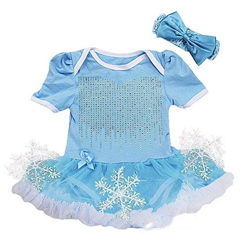 Rhinestone Elsa Costume Snowflake Bodysuit Large Blue ()