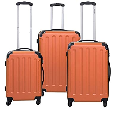 Goplus® Globalway 3 Pcs Luggage Travel Set Bag Abs+pc Trolley Suitcase (Orange)