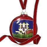Christmas Decoration Football with Flag Connecticut region America (USA) Ornament