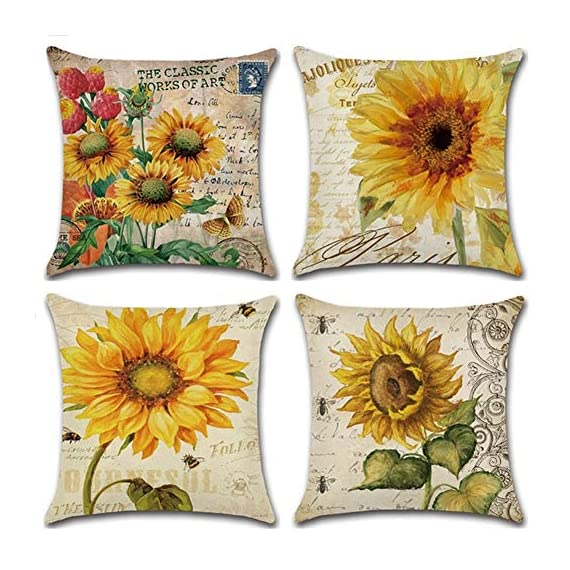 PSDWETS Home Decor Summer Style Sunflower Decorative Outdoor Throw Pillow Covers Set of 4 Cotton Linen Yellow Cushion Covers Pillow Case for Sofa,Car,Bed,Couch,18 x 18 - Material:High quality,Cotton linen Size:Approx 18x18 inch,45 x 45 cm Only have pillow covers,Inserts are not included - patio, outdoor-throw-pillows, outdoor-decor - 51zEcPsVLJL. SS570  -