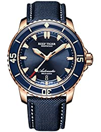 Mens Dive Watches Blue Dial Automatic Watches Super Luminous Watches with Date RGA3035 (RGA3035-PLL)