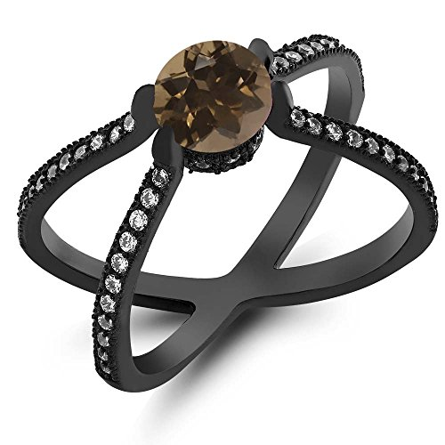 Gem Stone King 1.38 Ct Round Brown Smoky Quartz 925 Sterling Silver Rhodium Plated X Ring (Size 7)