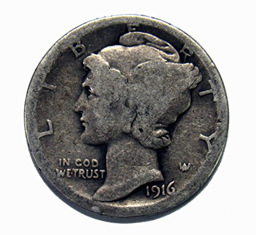1916 P Silver Mercury Dime 10c Average (1916 D Mercury Dime)