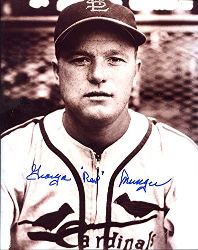 (George Red Munger (D.'96) Autographed /Original Signed 8x10 Sepia Photo w/ the St. Louis Cardinals)