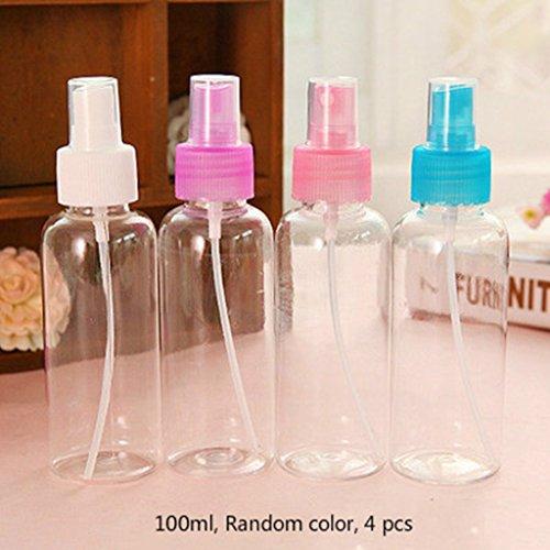4Pcs Transparent Bouteille de Spray, bouteille pulvérisateur en plastique vides, rellenable visage corps atomiseur pour Voyage, couleur hasard 50 ml