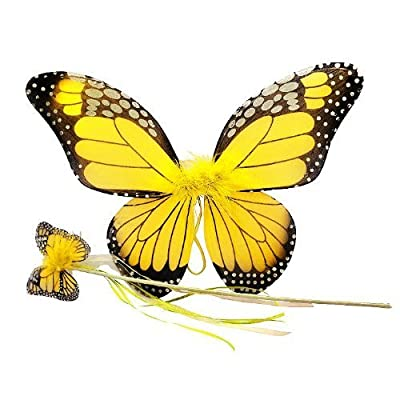 Yellow Monarch Butterfly Wing & Wand Set: Toys & Games