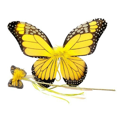 Yellow Monarch Butterfly Wing & Wand Set -