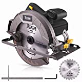 """Professional Circular Saw TECCPO 10Amp Lightweight 7-1/4"""" 5800 RPM Saw with Scale Ruler, 24T Circular Saw Blade, No Laser Guide, Max Cutting Depth 2-7/16"""" (90°), 1-13/16"""" (0°-45°) - TACS22P"""