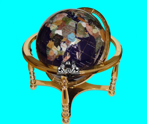 Ocean 13 Inch Gemstone Globe - Unique Art 21-Inch by 13-Inch Blue Lapis Ocean Table Top Gemstone World Globe with Gold 4-Leg Table Stand