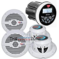 Boss Audio MGR350B Marine Bluetooth Receiver + 2 Pairs of 2-Way 6.5 Speakers