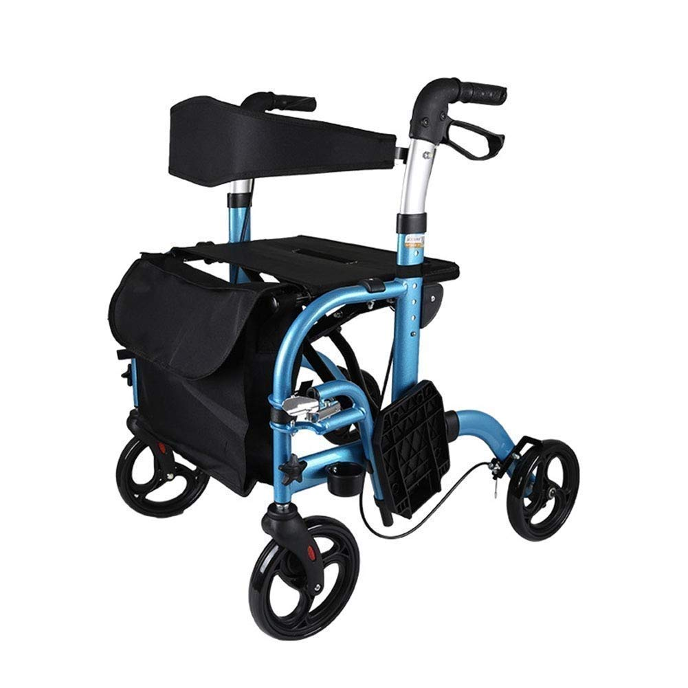 YFQ Standard Walking Frame Elderly Folding Walker with Padded Seat Family Assistant Stroller Rehabilitation Training Frame Shopping Cart Adjustable Height