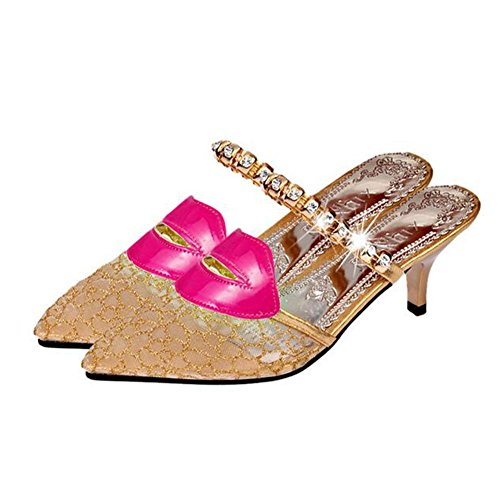 Lips Breathable Gold ANDAY Slippers Mesh Stiletto New Crystal Summer Women's Sandals EXqw1RxqZ