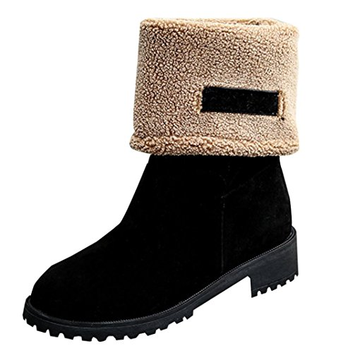 DEESEE(TM) Ladies Women Boots Flat Winter Warm Shoes Short Snow Boots (US 7, Black)