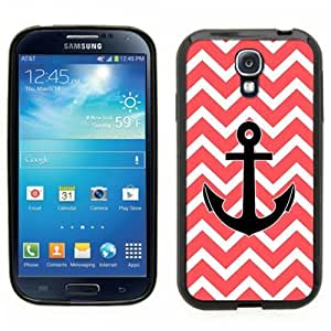 Samsung Galaxy S4 SIIII Black Rubber Silicone Case - Chevron Pattern Print Red White Anchor Nautical