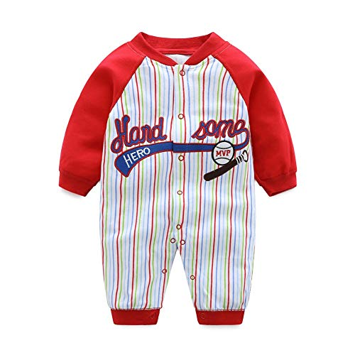 DOESLOOK Newborn Baby Boys Baseball Romper Clothes Toddler Bodysuit (0-3 Months, QR-07)