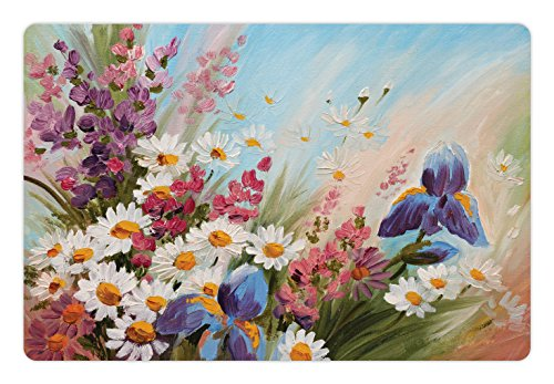 Lunarable Pet Mat for Food and Water, Rectangle Non-Slip Rubber Mat for Dogs and Cats, Colorful Tulips with Green Leaves in Keukenhof Gardens Painting Style Artwork Image, Pale Blue