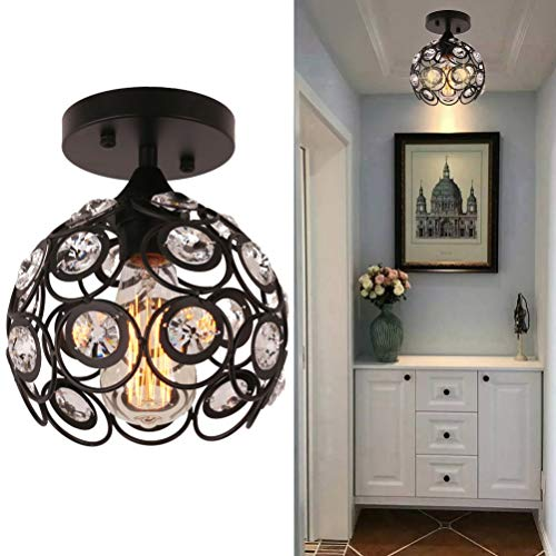 Semi Flush Mount Ceiling Light Fixture, Antique Black Metal Crystal Chandelier Lamp, Indoor Lighting for Bathroom Fixture Foyer Ceiling Fixture Hallway Lighting Fixture (Sparkly Light Fixture)