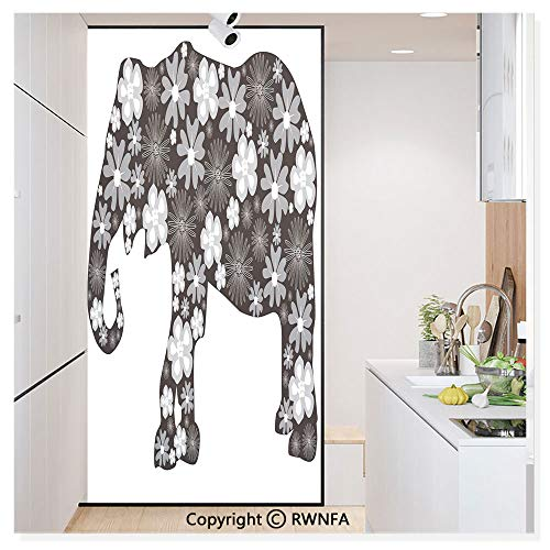 RWN Film Removable Static Decorative Privacy Window Films Floral Elephant Pattern with Flower Petals on The Body Tropical Boho Zoo Image for Glass (17.7In. by 78.7In),Black Grey