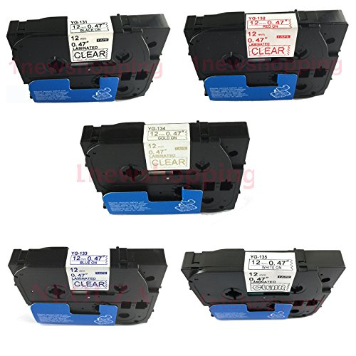 5PK Compatible For Brother P-Touch Laminated Tze Tz Label Tape 12mm x 8m (Set of 5 Colors Black Red Gold Blue White on Clear)