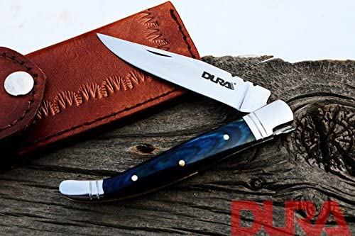 DURA KNIVES Dk-48 Blue Wood 3.5 inches Original Laguiole Folding Custom Handmade Stainless Steel Blade Pocket Knife 100 Prime Quality Plus Beautiful Brass Bolster Limited Edition