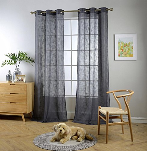 Miuco Semi Sheer Curtains Poly Linen Textured Solid Grommet Curtains 95 Inches Long for Bedroom 2 Panels (2 x 37