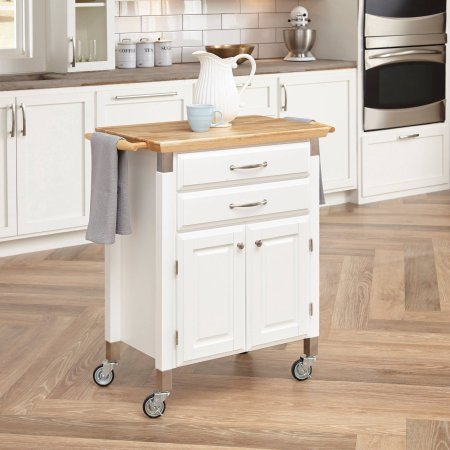 (Small Kitchen Cart Prep Storage Serving Rolling Mobile Trolley Dolly Wheels Microwave Appliance Portable Cabinet)