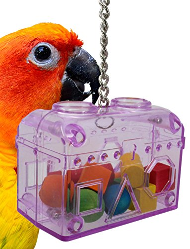 60020 Small Blue Treasure Chest Birds Toys Foraging Cages Parrot Plastic Unbreakable