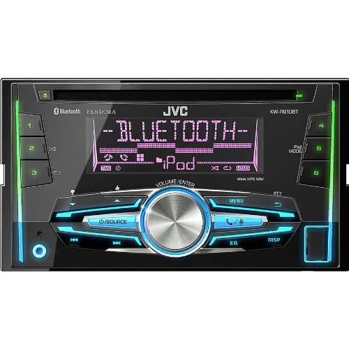 JVC In-Dash CD Stereo Receiver, with BLUETOOTH Wireless Technology, Custom Color Illumination, USB Port, with Custom Color Illumination, 6-Key Presets, Aux Input, USB Port for iPhone, iHeartRadio Link Capability, and Pandora Internet Radio Capability, Music Playback for iPod and iPhone, Connect 2 Phones Full Time, and Wireless Remote Included (Jvc Car Remote compare prices)