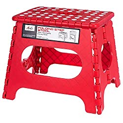 Acko Red 11 Inches Non Slip Folding Step Stool for Kids and Adults with Handle, Holds up to 250 LBS