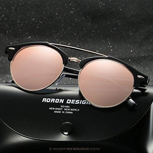 para Gafas Ronda Deportes de polarizadas Hombres gafas Gafas sol de Negro hombres steampunk mujeres sol w4vq4P