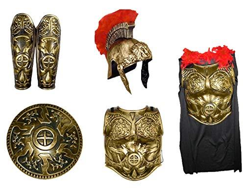 Roman Gladiator Leg Guards Helmet Cape Chest Spartan Shield Armor Set Costume Gold