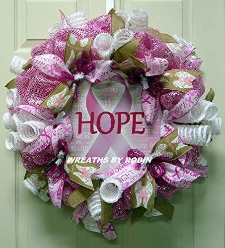 Breast Cancer Hope Wreath, Awareness Wreath (3490) -