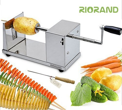 RioRand Manual Stainless Steel Twisted Potato Slicer Spiral Vegetable Cutter French ()