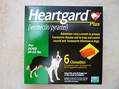 Protects Against Hook Heart Round Worms From Your Medium Dogs up to 50 Lbs 6 Chews