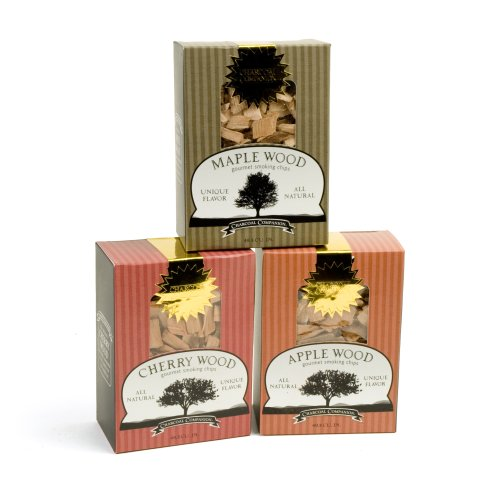 (Charcoal Companion Maple, Cherry and Apple Wood Chips Sampler Pack)