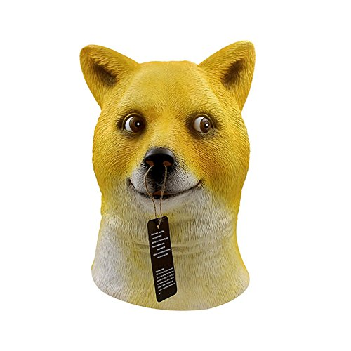 QTMY Latex Rubber Animal dog Mask for Halloween Party Costume