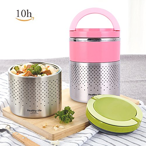 2 Tier Vacuum Thermos Lunch Box Stainless Steel Food Jar Insulated Lunch Containers Leak Proof Bento Boxes Food Storage Box with Handles for Adults,Work, Holding Time 10H, 51oz/1.5 L-Pink