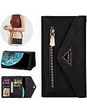 Miagon Galaxy S20 Crossbody Zipper Case,Wallet Purse Handbag with Wristlet & Shoulder Strap Card Slots Pocket PU Leather Flip Kickstand Cover for Samsung Galaxy S20