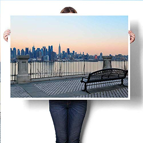 Bench in Park and New York City Midtown Manhattan at Sunset with Skyline Panorama View Over Hudson Riverpainting canvaspainting crafts24