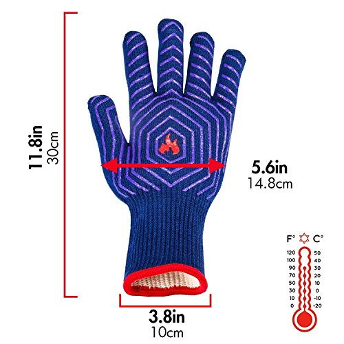 BBQ Grilling Gloves Barbecue Grill Gloves BBQ Oven Mitt Oven Gloves 932°F Heat Resistant Heavy Duty Cotton Cooking Gloves Silicone Insulated for Smoker, Camping Fire Pit, Outdoor Baking, Kitchen by UNEEDE (Image #5)