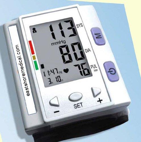 EastShore Digital Wrist Blood Pressure Monitor , 120 memory in 4 group ,Irregular Heart Beat detector, Jumbo LCD