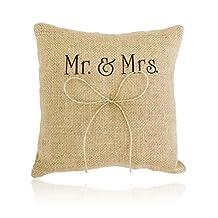 Tinksky Wedding Ring Cushion Ring Bearer Mr Mrs Ring Bearer Pillow with Ribbon 20*20cm