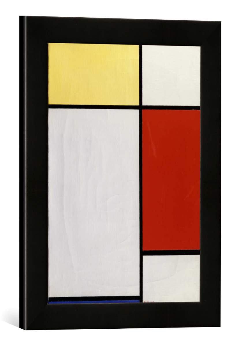 Gerahmtes Bild von Piet Mondrian Komposition, Kunstdruck im hochwertigen handgefertigten Bilder-Rahmen, 30x40 cm, Schwarz matt