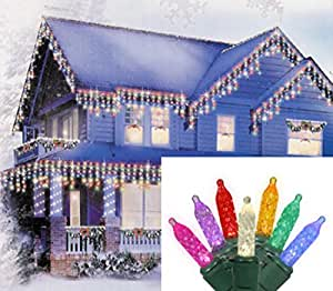 Set of 70 Multi-Color LED M5 Mini Icicle Christmas Lights - Green Wire