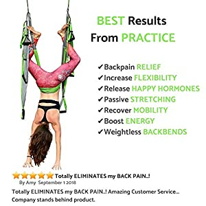 Aerial Trapeze Yoga Swing – [UPDATED VERSION] Gym Strength Antigravity Yoga Hammock – Inversion Trapeze Sling Exercise Equipment with Two Extender Hanging Straps – Blue Swings & Beginner Instructions