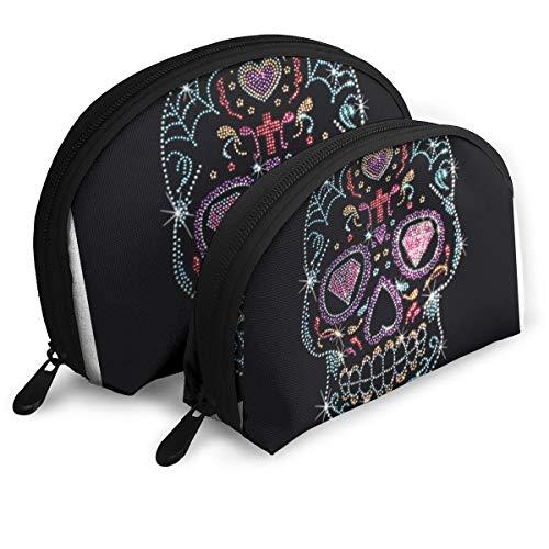 Makeup Bag Rhinestone Pattern Studs Sugar Skull Handy Half Moon Beauty Bags Set Organizer For Women,Girls 2 Piece -