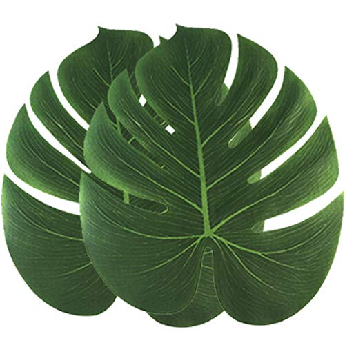 36 Pcs 13 Large Palm Leaves Artificial Tropical Plant Leaves Faux Leaves Safari Hawaiian Luau Party Suppliers Decorations,Tiki Aloha Jungle Beach Birthday Table Leave Decorations