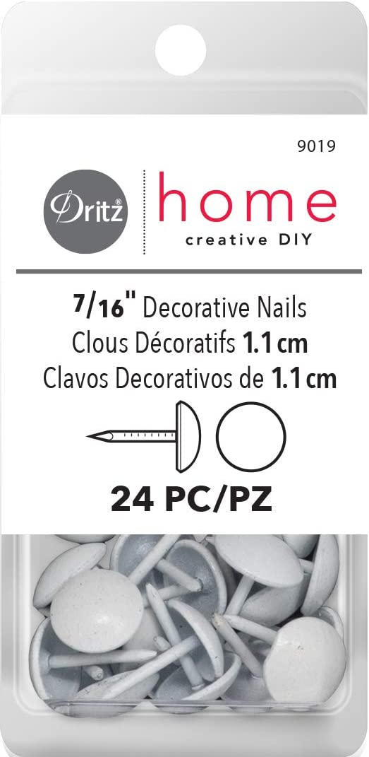 Dritz Home 9019 Smooth Decorative Nails, 7/16-Inch, White (24-Piece)