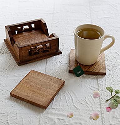 storeindya, Set of 4 with Holder- Wooden Coasters for Drinks Absorbent - Coaster Set with Holder - Eco-Friendly Protects Furniture from Water Stains & Damages